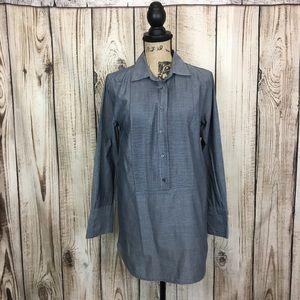 JCrew Blue Tunic Blouse Long Sleeve Small